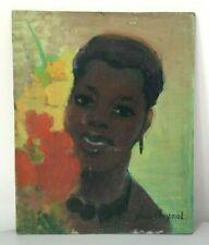 """Yvonne Cheymol 1884-1980 huile sur panneau portrait """"France d'outre mer"""" tableau"""