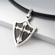 Silver Black Knights Shield Celtic Cross Pendant Black Leather Tribal Necklace