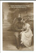 Antique Romantic Couple RPPC Real Photo B/W Postcard by REX 944, 1910s divided