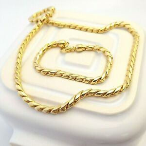 Unusual Chunky Gold Tone Chain Necklace and Bracelet to Layer Elegant Gift
