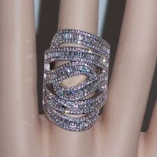 s9 X-LARGE DIVA STATEMENT RING 18K WG-FILLED AAA CLEAR CZ LONG MULTI-ROW SHIELD