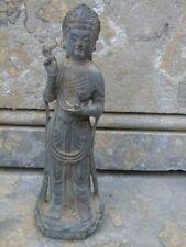 bouddha divinité en bronze pat antique sur socle  ...