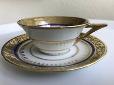 LIMOGES COBALT GOLD TEA OR COFFEE CUP AND SAUCER HAND PAINTED PAUL PASTAUD RARE
