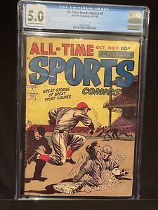 🔥ALL-TIME SPORTS COMICS #7 CGC 5.0 1949 Vintage Golden Age Hillman Comic Book