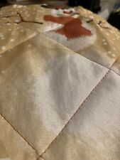 King Size Quilted pillow sham Pictured:snowman,pine cones And Peace On Earth
