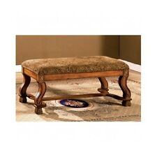 Solid Oak Vanity Bench End Of Bed Accent Ottoman Seat Antique Fabric Bedroom New