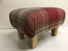 FOOTSTOOLS  IN NEXT  STIRLING VERSATILE RED CHECK  FABRIC  SOLID OAK LEGS