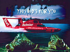 Budweiser Bud This Bud's For You Frogs Speed Boat Ride Lithocel Ad Art New
