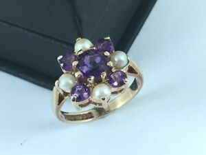 Amethyst & Pearl Cluster 9ct Yellow Gold - Vintage Cocktail Dress Ring 9K Flower