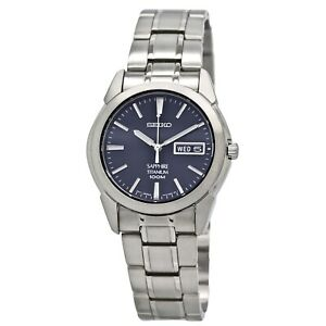 Seiko Men's SGG729 Titanium Bracelet Blue Dial Watch