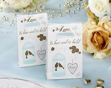 Wedding Favour Bags x 10 - Birdcage & Heart Design - Blue & Gold