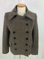 Zara Women's Brown Herringbone Wool Blend Double Breasted Jacket S