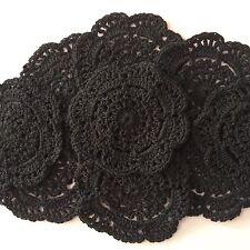 10 X  BULK NEW 10 CM BLACK CROCHET LACE DOILIES