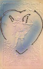 CARTE POSTALE POST CARD FANTAISIE GAUFREE TO MY VALENTINE ANGE ANGEL FLEUR