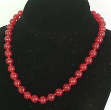 "10MM Red Ruby Necklace 18"" NEW (in a silk gift bag)"