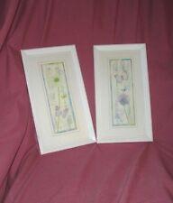 Vintage Antique White Framed Blue & Purple Butterfly Flower Prints