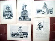 1900 LOTTO DI 5 INCISIONI CON MONUMENTI A GIUSEPPE GARIBALDI ED ALTRI EROI