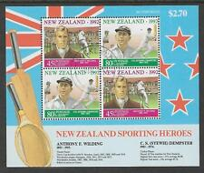 NEW ZEALAND 1992 HEALTH Sporting Heroes CRICKET TENNIS Souvenir Sheet USED