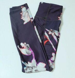 Athleta Womens Active Wear Leggings Pants Floral Design Purple Size XS