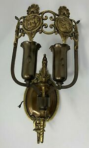 1920s English Tudor Revival Wall Sconce in Brass and Copper with Castle and Lion