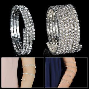 Silver Upper Arm Cuff Swirl Bracelets with Rhinestones Diamonds for Women Ladies