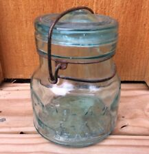 Antique ATLAS E-Z SEAL Aqua Glass Fruit Jar Lid Wire Handle Bail Canning Pint
