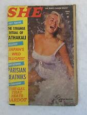 Vintage SHE Magazine April 1960 DONNA BUTTONS Cover Photo BEATNIKS IN PARIS Sumo