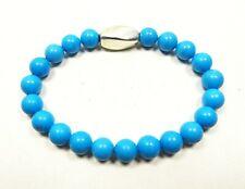 SIMON SEBBAG Lovely Sterling Silver Blue Howlite Beads Stretch Bracelet