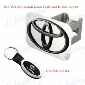 Black Stainles HitchCover Plug Cap For TOYOTA Logo Trailer Tow Receiver+Keychain
