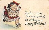 Fat Kid Birthday 1922 Postcard Series 588 Girl Running Seaman Ohio Cancel