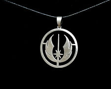 Disney Star Wars Jedi Council Brushed Pendant Weaved Black Necklace Cord Cosplay