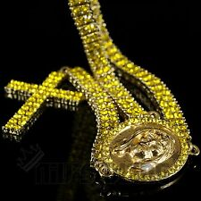 14k Gold Lemonade Canary 2 Row CZ ICED OUT ROSARY Jesus Cross Necklace Chain
