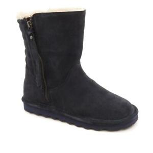 BEARPAW Women's Lindsay Suede Quilted Boots with NeverWet Size 8W Navy