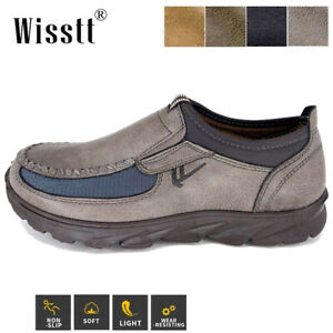 Men's Leather Casual Shoes Breathable Antiskid Loafers Slip on Work Moccasins UK