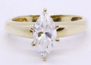14K Solid Yellow Gold Marquise Cubic Zirconia CZ Solitaire Engagement Ring sz 6
