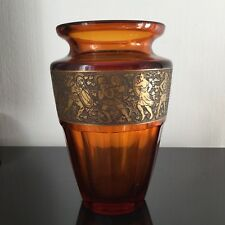 MOSER Karlsbad Grand Vase ART DECO Ancien Décor Dégagé A l'Acide Karlovy Vary