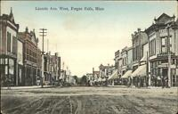 Fergus Falls MN Lincoln Ave West c1910 Postcard