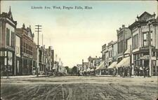 Fergus Falls MN Lincoln Ave West c1910 Postcard