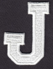 "LETTERS - WHITE BLOCK LETTER ""J"" (1 7/8"") - Iron On Embroidered Applique Patch"