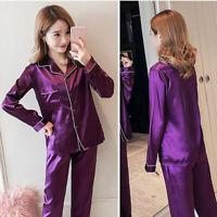 Lovely Silk Feeling Women Pajamas SexyPijamas Suit Satin Nightdress Pyjama DP