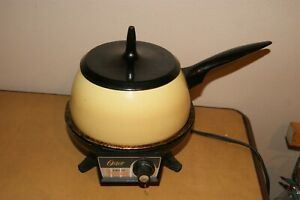 Vintage gold/yellow Oster Electric Fondue set
