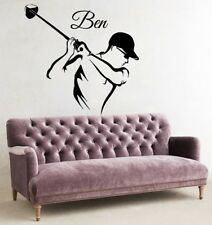 Golf Player Wall Sticker Sport Vinyl Custom Name Room Removable Decal Poster DIY