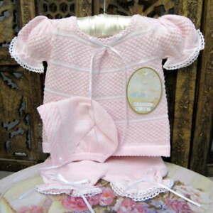 Will'beth Sweet Pink Newborn Infant Baby Girl Knit Set Bonnet Take-Me-Home Babie