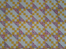 Unfinished Quilt Top - Yellow Nine Patch, Pink Diagonals, Approx 62.5 x 74