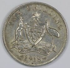 Australia 1918 Shilling, about Extremely Fine but cleaned