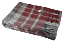 Plush Alpaca Wool Blanket with Plaid Scottish Pattern