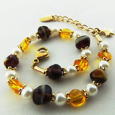 BRACELET CUFF BANGLE REAL 18K YELLOW G/F GOLD TIGER EYE AMBER PEARL BEAD DESIGN