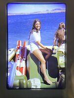 Lake Havasu AZ Early 1970's Classic Boat Young Lady Sitting on Back 35mm Slide