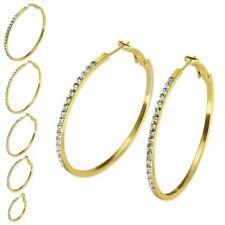 1 Paar Creolen golden Strass Ohrringe goldfarben Ohrschmuck elegant