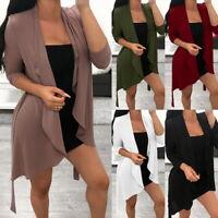 Women Waterfall Cardigan  Office Long Sleeve Solid Color Coat Open Front Jacket